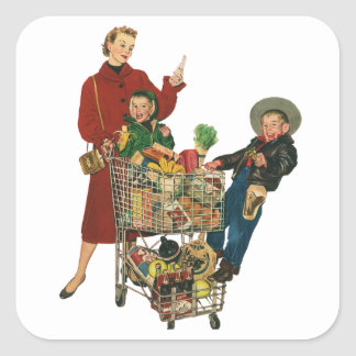 Retro Family, Mom and Kids, Cart Grocery Shopping Square Sticker