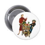 Retro Family, Mum and Kids, Cart Grocery Shopping 6 Cm Round Badge