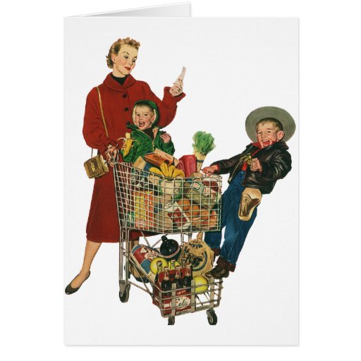 Retro Family, Mum and Kids, Cart Grocery Shopping Greeting Card
