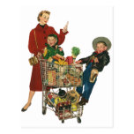 Retro Family, Mum and Kids, Cart Grocery Shopping Postcard