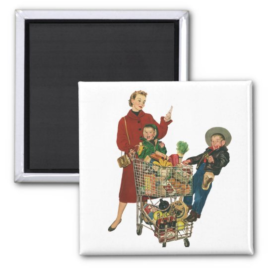Retro Family, Mum and Kids, Cart Grocery Shopping Square Magnet