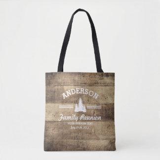 Retro Family Reunion or Trip | Rustic Pine Trees Tote Bag