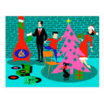 Retro Family Trimming the Christmas Tree Postcard