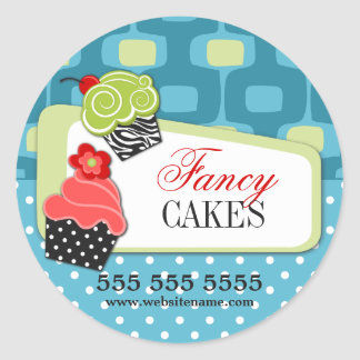 Retro Fancy Cupcake Bakery Round Sticker