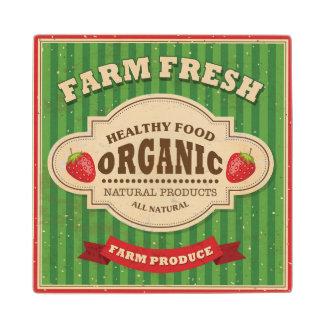 Retro Farm Fresh Poster Design Wood Coaster