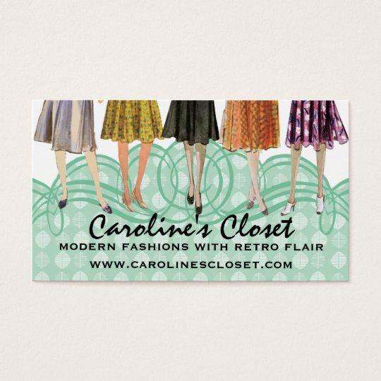 retro fashion dress model skirts legs sewing business card