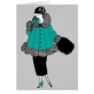 Retro Fashion in Teal Greeting Card