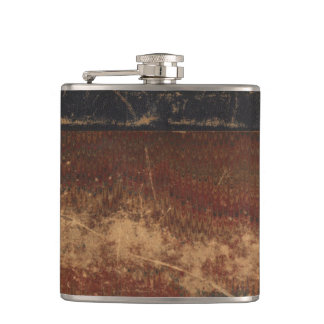 Retro faux leather, looks old, scratched & worn hip flask