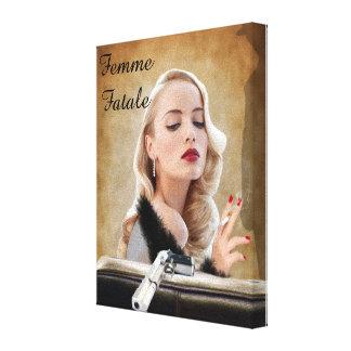 Retro Femme Fatale Diva - Smoking and Guns Canvas Prints