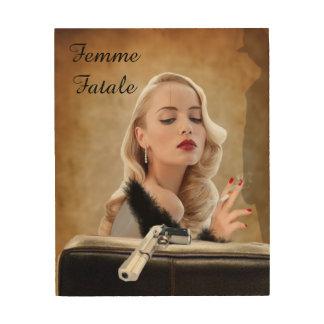 Retro Femme Fatale Diva - Smoking and Guns Wood Prints
