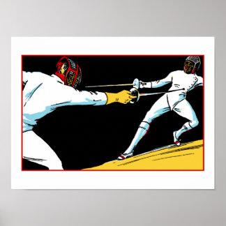 Retro fencing championship ad poster