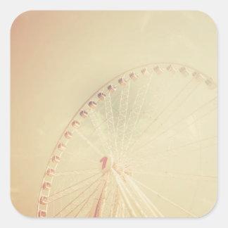 Retro Ferris Wheel Square Sticker
