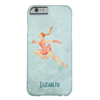 Retro Figure Skater In A Pink Outfit Personalized Barely There iPhone 6 Case