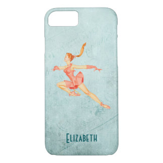 Retro Figure Skater In A Pink Outfit Personalized iPhone 7 Case