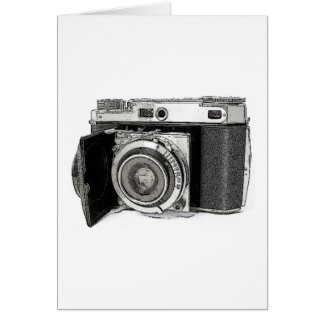 Retro Film Camera Photography Drawing Sketch Greeting Card