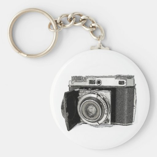 Retro Film Camera Photography Drawing Sketch Key Chain