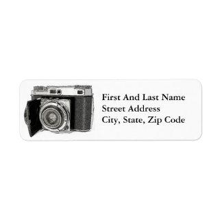 Retro Film Camera Photography Drawing Sketch Return Address Label