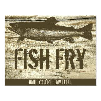 "Retro Fish Fry Vintage Fish Food Wood Texture Art 4.25"" X 5.5"" Invitation Card"