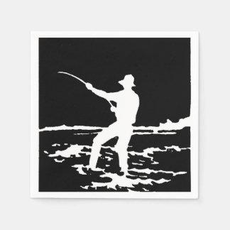 Retro Fisherman Silhouette Paper Napkin