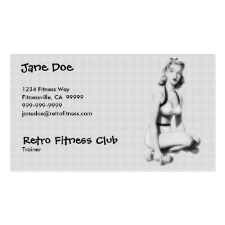 Retro Fitness B W Business Card Templates