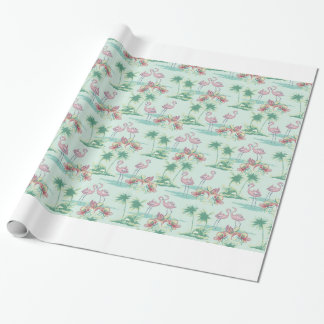Retro Flamingo Island Wrapping Paper