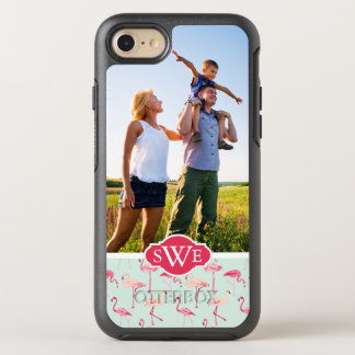 Retro Flamingo Pattern| Add Your Photo & Monogram OtterBox Symmetry iPhone 8/7 Case