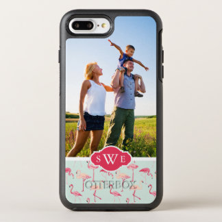 Retro Flamingo Pattern| Add Your Photo & Monogram OtterBox Symmetry iPhone 8 Plus/7 Plus Case