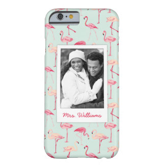 Retro Flamingo Pattern | Add Your Photo & Name Barely There iPhone 6 Case