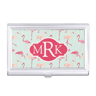 Retro Flamingo Pattern | Monogram Business Card Holder