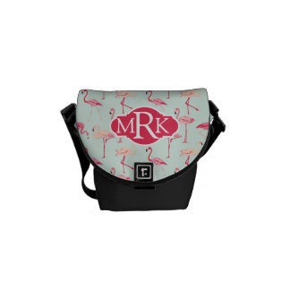 Retro Flamingo Pattern | Monogram Courier Bags