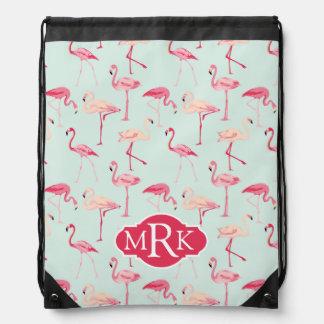 Retro Flamingo Pattern | Monogram Drawstring Bag