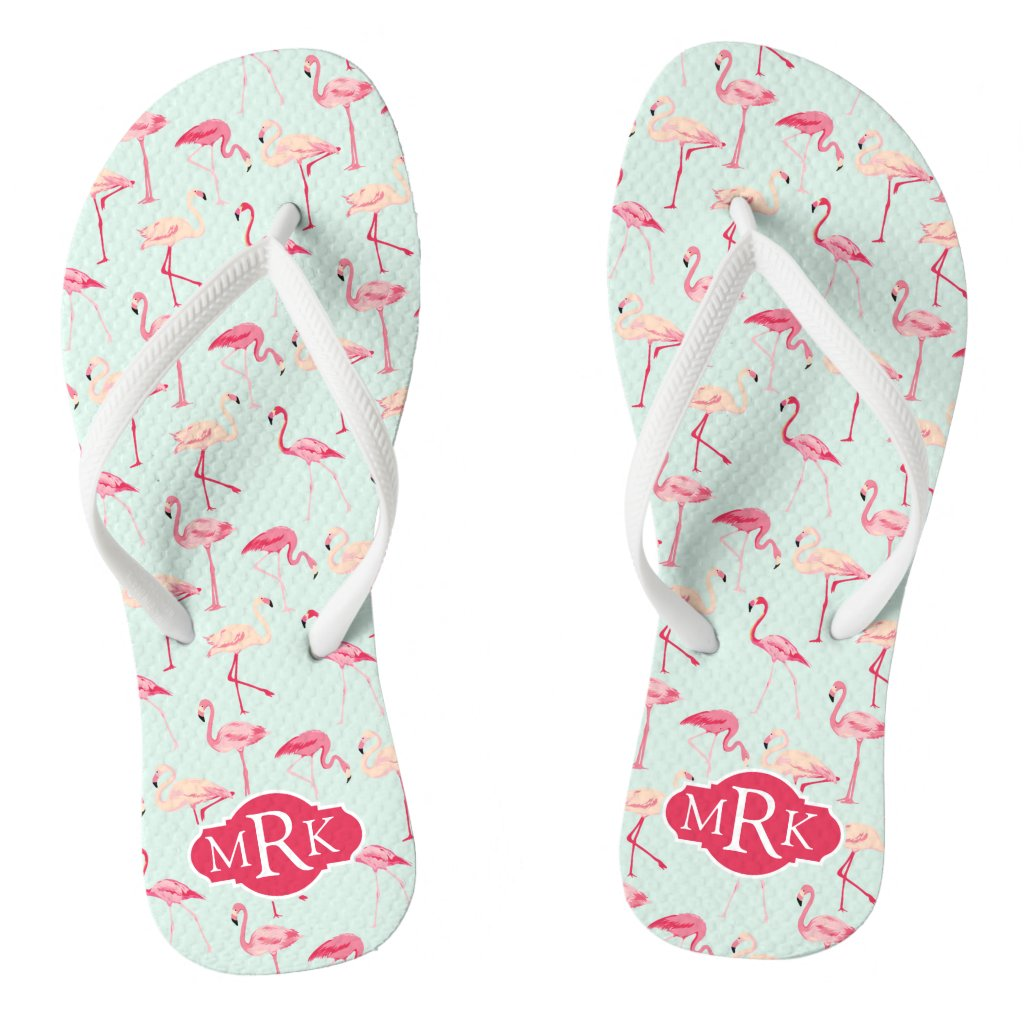 Flamingo Pattern Flip Flops