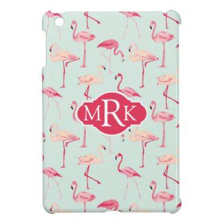 Retro Flamingo Pattern | Monogram iPad Mini Cases