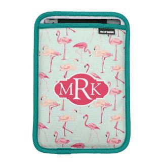 Retro Flamingo Pattern | Monogram iPad Mini Sleeve