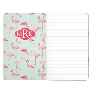 Retro Flamingo Pattern | Monogram Journals