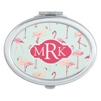 Retro Flamingo Pattern   Monogram Mirror For Makeup