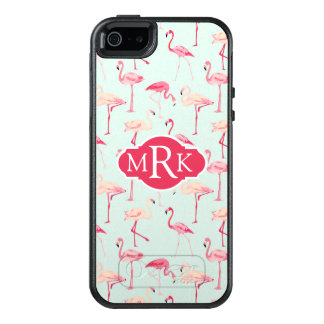 Retro Flamingo Pattern | Monogram OtterBox iPhone 5/5s/SE Case