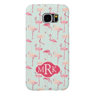 Retro Flamingo Pattern | Monogram Samsung Galaxy S6 Cases