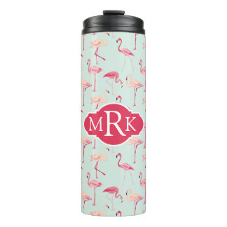 Retro Flamingo Pattern | Monogram Thermal Tumbler