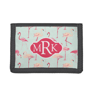 Retro Flamingo Pattern | Monogram Tri-fold Wallet