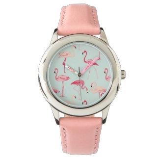 Retro Flamingo Pattern Wristwatches