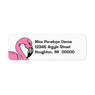 Retro Flamingo Pink White Return Address Label