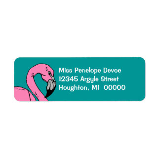 Retro Flamingo Teal Blue Return Address Labels