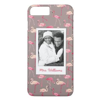 Retro Flamingos | Add Your Photo & Name iPhone 8 Plus/7 Plus Case