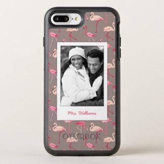 Retro Flamingos | Add Your Photo & Name OtterBox Symmetry iPhone 7 Plus Case