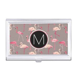 Retro Flamingos | Monogram Business Card Holder