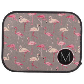 Retro Flamingos | Monogram Car Mat