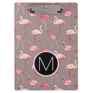 Retro Flamingos | Monogram Clipboard