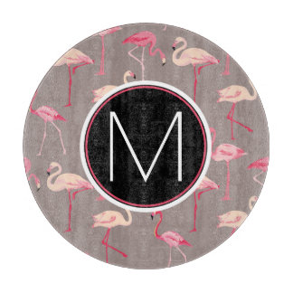 Retro Flamingos | Monogram Cutting Board