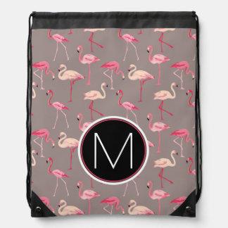 Retro Flamingos | Monogram Drawstring Bag